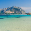 Panoramic view of Mondello shoreline, Sicily, Italy.